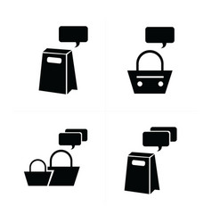 shopping bags set bubble talk icon vector image vector image