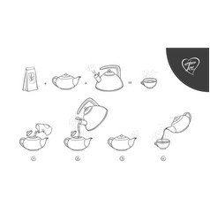 Sketch tea brew procedure vector