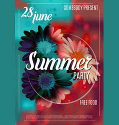 Summer party poster template with flowers vector