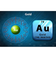 Symbol and electron diagram for Gold vector image vector image