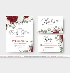 Wedding floral invite save the date thank you card vector
