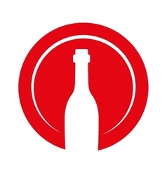 wine bottle decorative icon vector image vector image