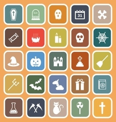 Halloween flat icons on orange background vector
