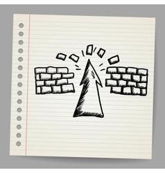 Hand-drawn arrow doodle breaking the wall vector image