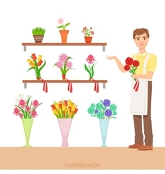 Male Florist In The Flower Shop Demonstrating The vector image