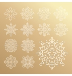 Various golden winter snowflakes set vector