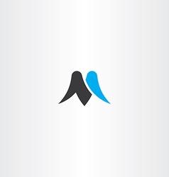 M letter black cyan icon symbol vector