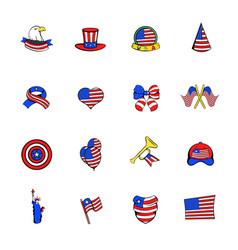 Independence day icons set cartoon vector