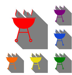 Barbecue simple sign set of red orange yellow vector