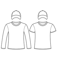Blank t-shirts and caps template vector