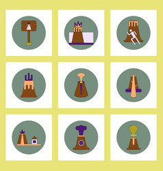 Collection of icons in flat style volcano vector