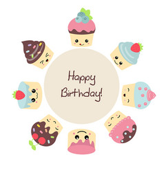 Background with cute cakes background with cute vector