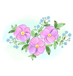 Watercolor purple and blue flowers with leaves vector