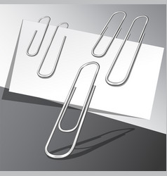 Five paper clips and paper sheets vector