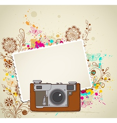 Abstract vintage camera and flowers vector