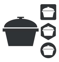 Pot icon set monochrome vector