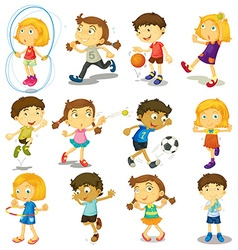Boy and girl doing many activities vector