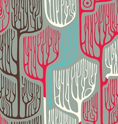 Colorful seamless pattern with stylized trees vector