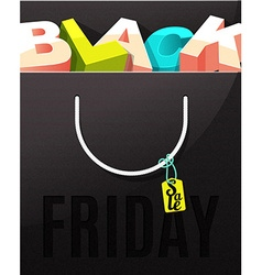 Black friday sale design letters in the package vector