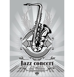 retro poster for jazz concert with saxophone and vector image