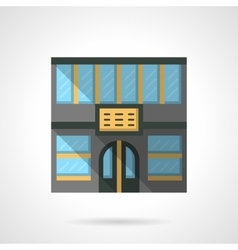 Hotel facade flat color design icon vector