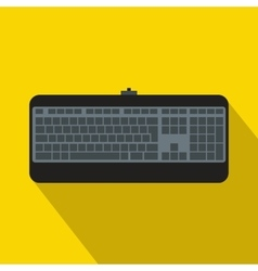 Black computer keyboard icon flat style vector