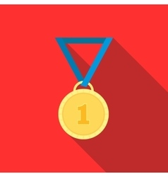 Gold medal icon in flat style vector
