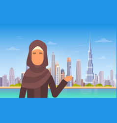 Arab woman showing dubai skyline panorama modern vector