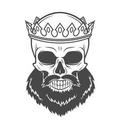 Bearded skull king with crown vintage cruel vector