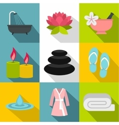 Beauty salon icons set flat style vector