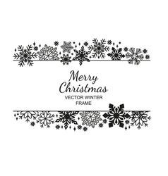 black-white snowflake frame christmas design vector image vector image