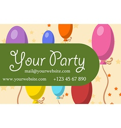 Card your party with gifts balloons ice cream and vector