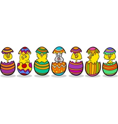 chickens in easter eggs cartoon vector image vector image