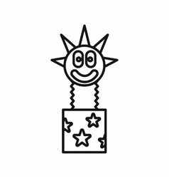 Clown jumping out from a box icon outline style vector