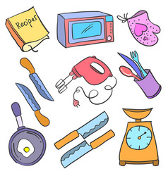collection stock kitchen accessories doodles vector image vector image