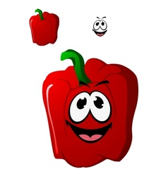 Colorful happy red sweet bell pepper vegetable vector image