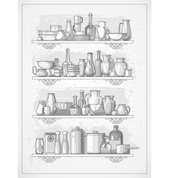 Crockery on shelves vector