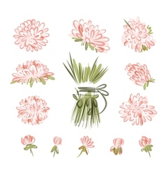 Design elements for floral bouquet vector