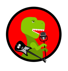 dino rocktyrannosaurus sings song dinosaur with vector image