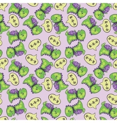 Dinosaur pattern green vector