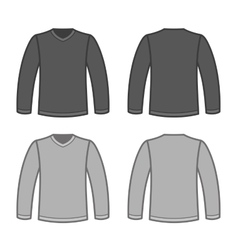 Grey Men T-shirt Long Sleeved Shirts vector image