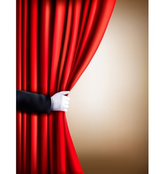 Hand in a white glove pulling curtain away theater vector