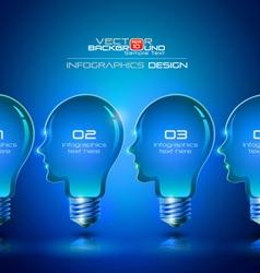 Human head light bulbs infographics design vector