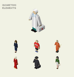 Isometric people set of cleaner guy detective vector