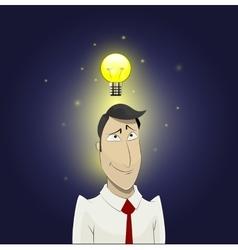 Light bulb above head of cartoon man vector image