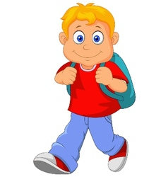 Little boy cartoon walking vector image vector image