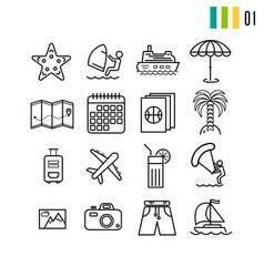 outline summer icons vector image vector image