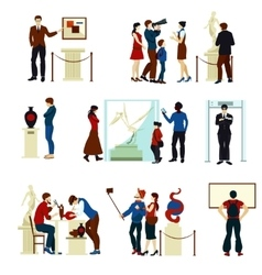 People In Museum Gallery Color Icons vector image vector image
