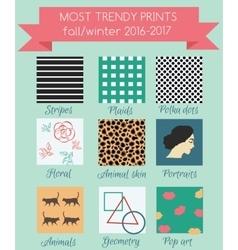 Print trends fall winter season 2016 vector