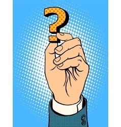 Question mark in hand vector image vector image